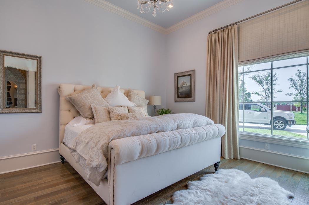 Beautiful bedroom in custom home built by Sharkey Custom Homes in Lubbock.