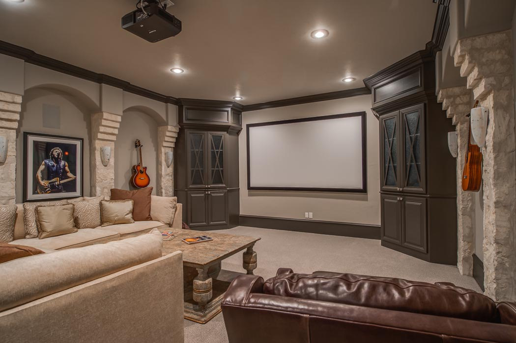 Beautiful home theatre room in custom home built in Lubbock, Texas.