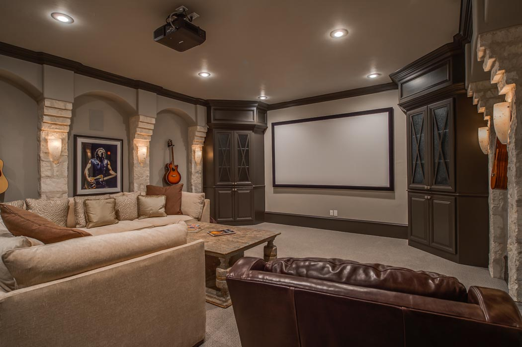Spacious basement home theatre room in Lubbock home.