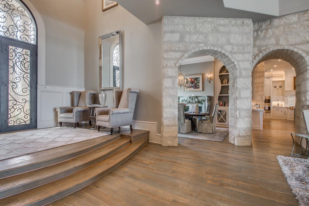 Beautiful entry area in custom home built by Sharkey Custom Homes in the Lubbock area.