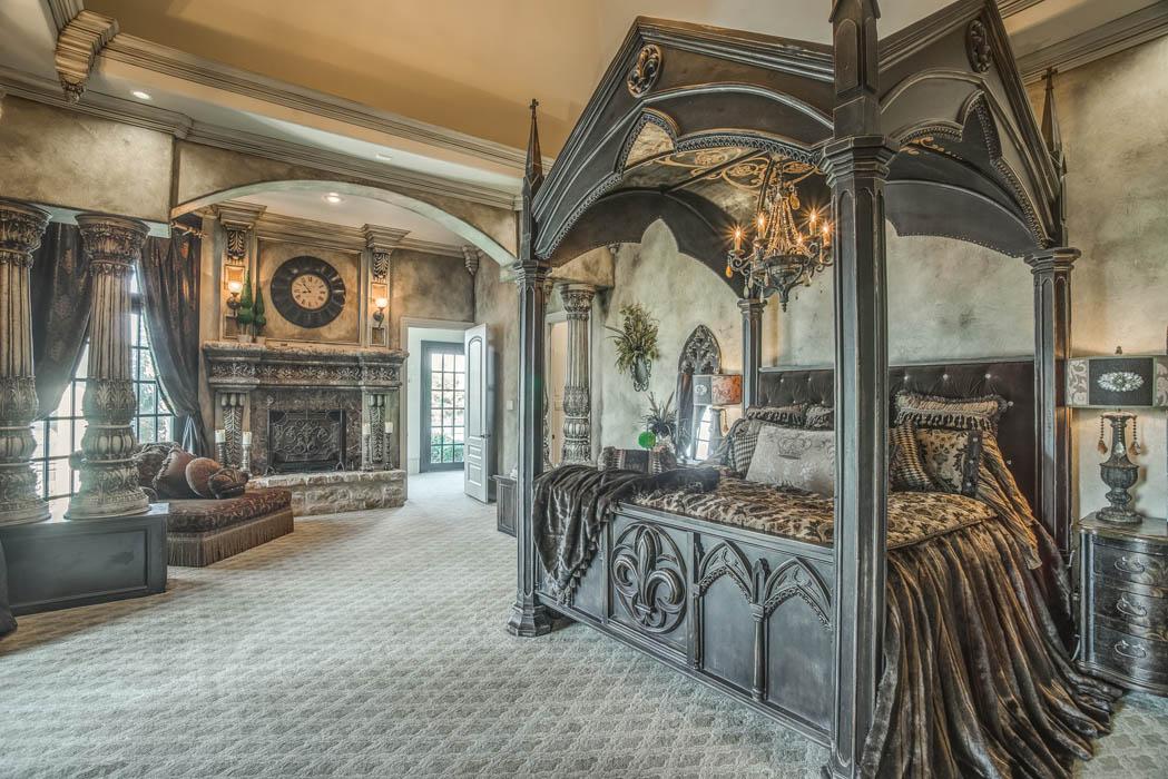 Detail of spacious bedroom in home by Sharkey Custom Homes.