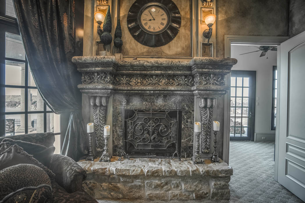 Beautiful fireplace in West Texas home.