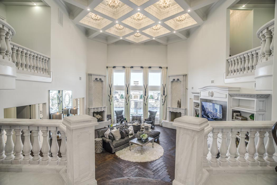 Amazing living area and staircase of custom home in the Lubbock, Texas area.