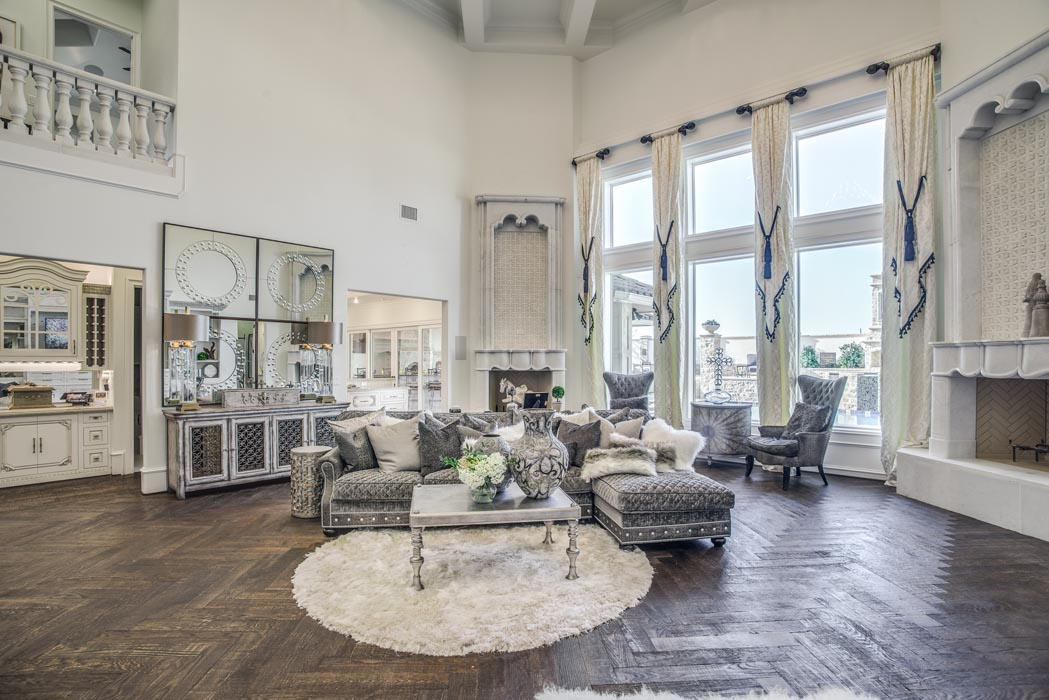 Spacing living room interior of custom home in West Texas, featured in the Parade of Homes.