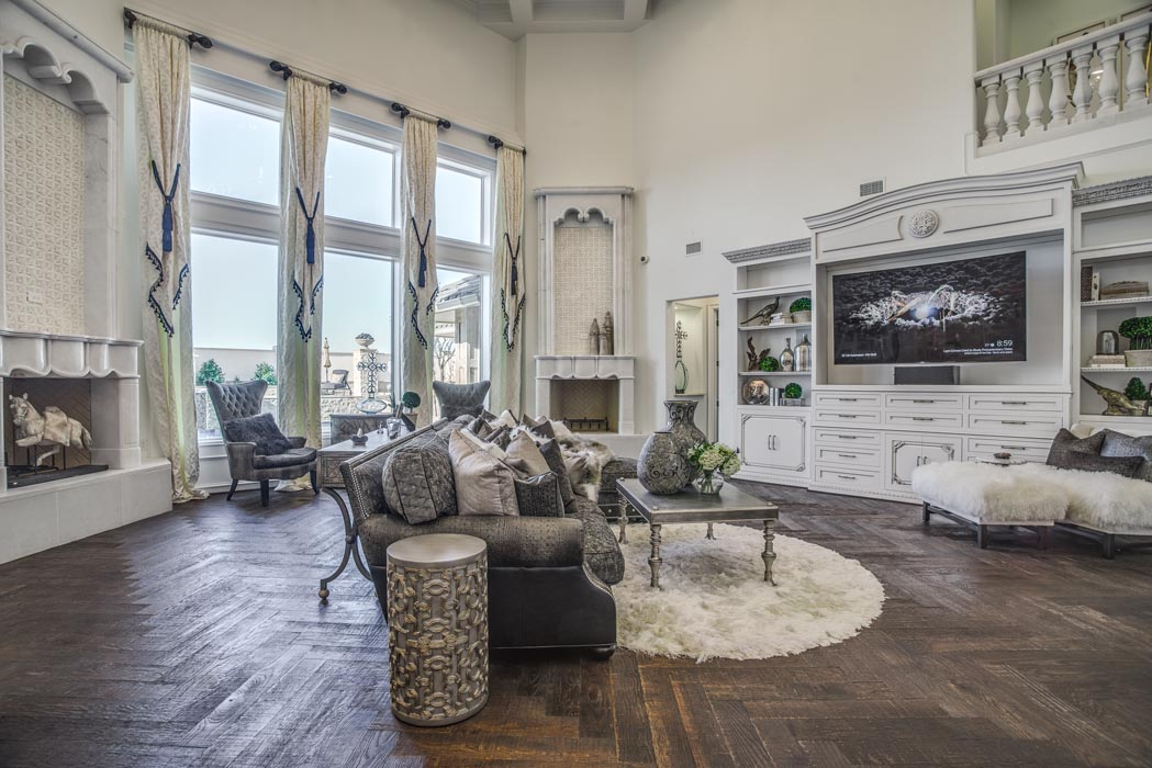Living area of custom home featured in the Lubbock Parade of Homes.