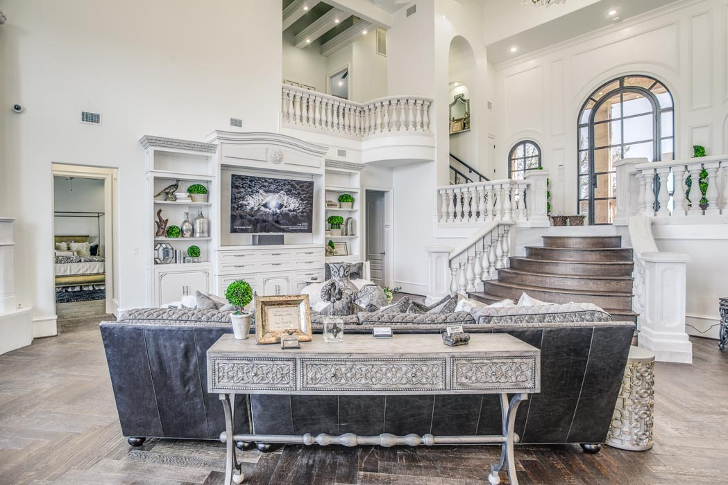 Spacious living room of custom home in West Texas, featured in the Parade of Homes.