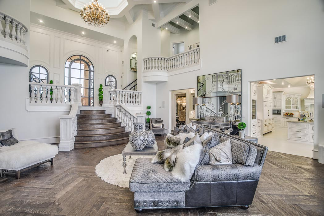 Elegant living area in Parade of Homes home, built by Sharkey Cusstom Homes.