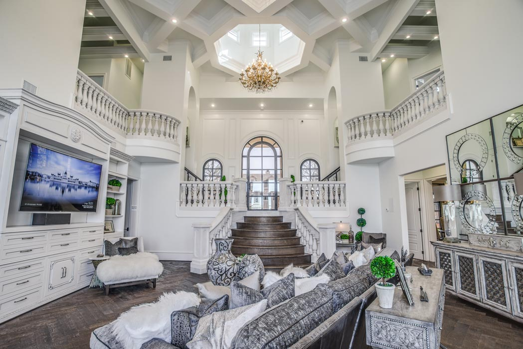 Wide view of spacious living area in custom home near Lubbock.