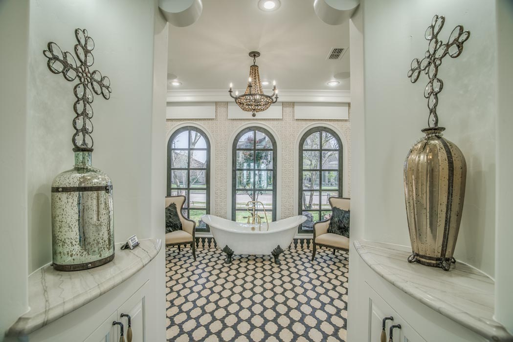 Master bath with entry in custom home in Lubbock, Texas.