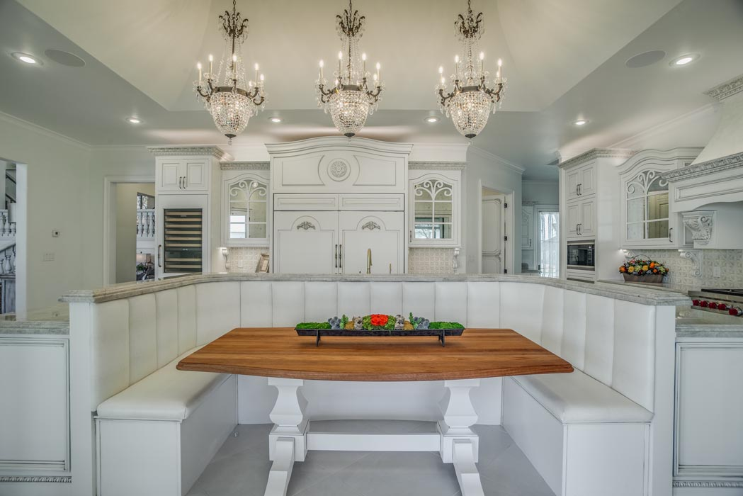 Cozy breakfast nook in spacious custom kitchen in home in Lubbock.