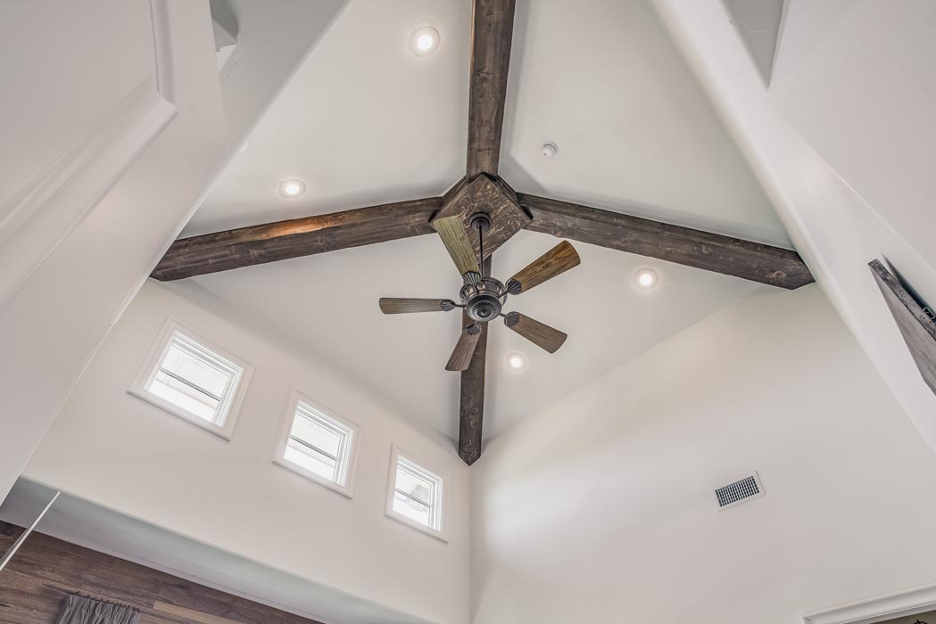 Custom ceiling treatment in custom home in Lubbock.