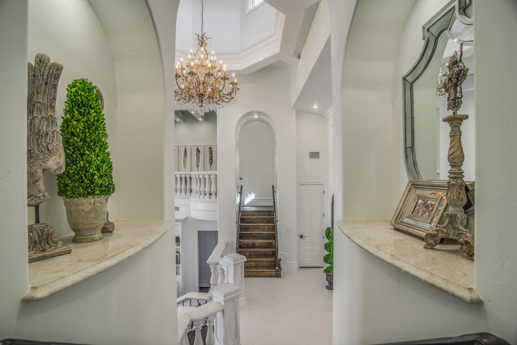 Hallway of living area in beautiful custom home in Lubbock.