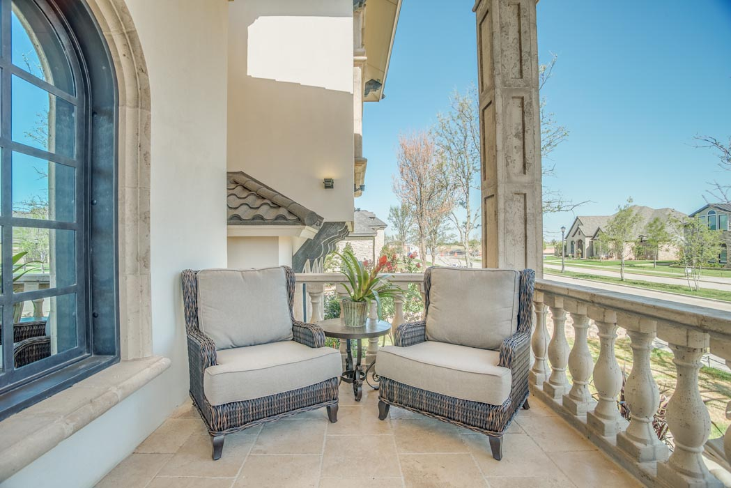Outdoor seating area in custom home.