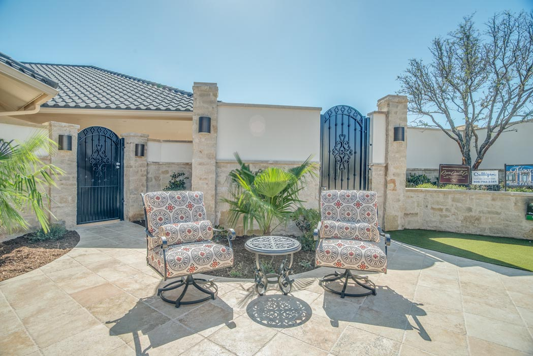 Cozy seating area in custom patio of beautiful home in Lubbock.