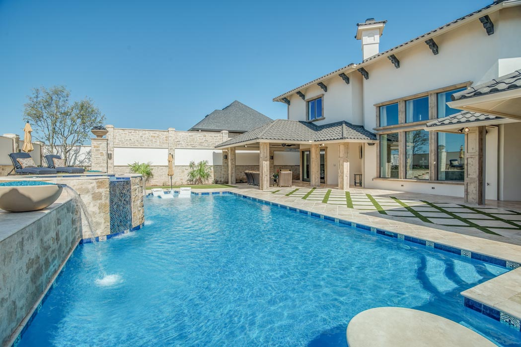 Pool of custom home in the Lubbock area, designed by Sharkey Custom Homes.