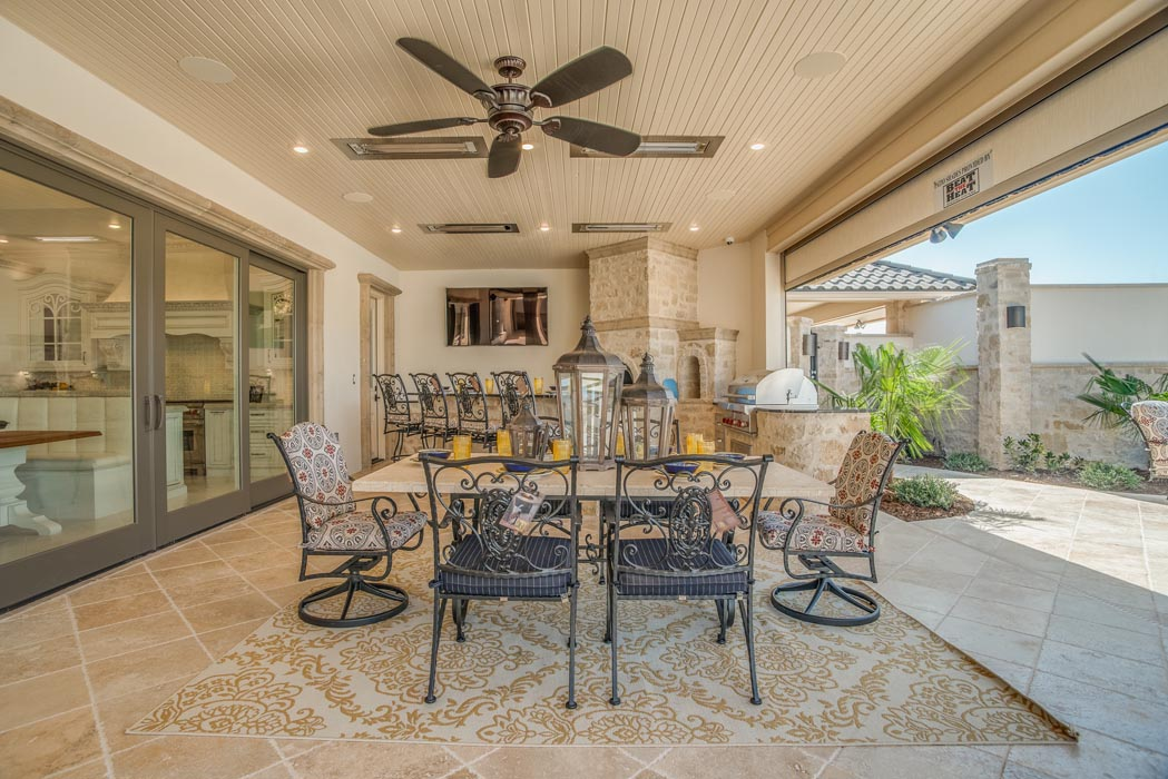 Beautiful outdoor dining area of custom home.