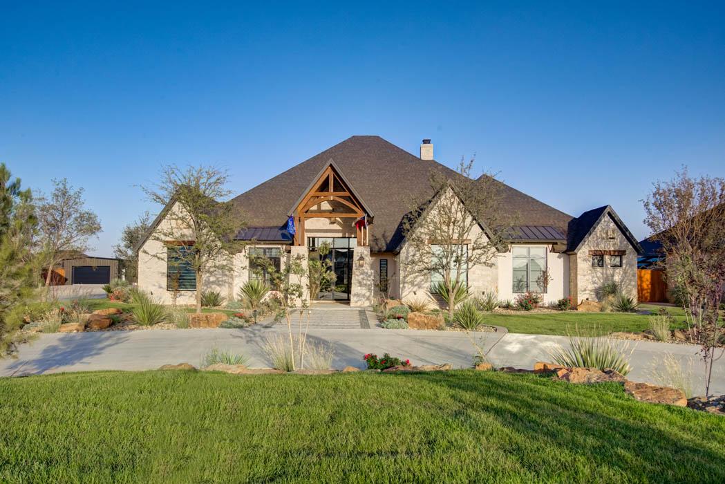 Exterior of beautiful custom home in Lubbock, Texas, built by Sharkey Custom Homes.