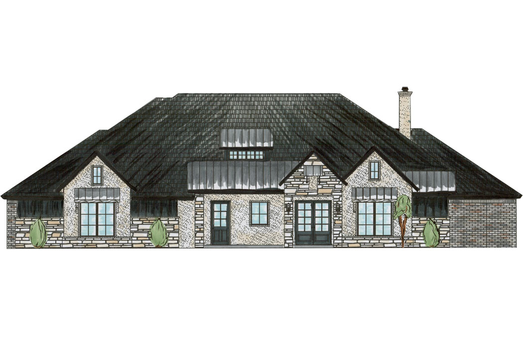 Artist's rendering of exterior of beautiful new home for sale in Lubbock, Texas.