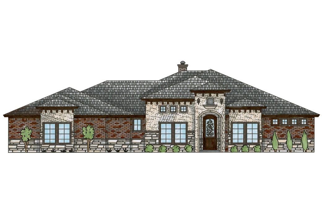 Rendering of beautiful new home to be built in Lubbock, Texas.