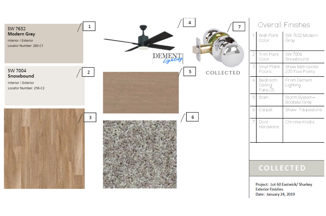 Diagram of finishes in custom home in Eastwick at Kelsey Park in Lubbock, Texas