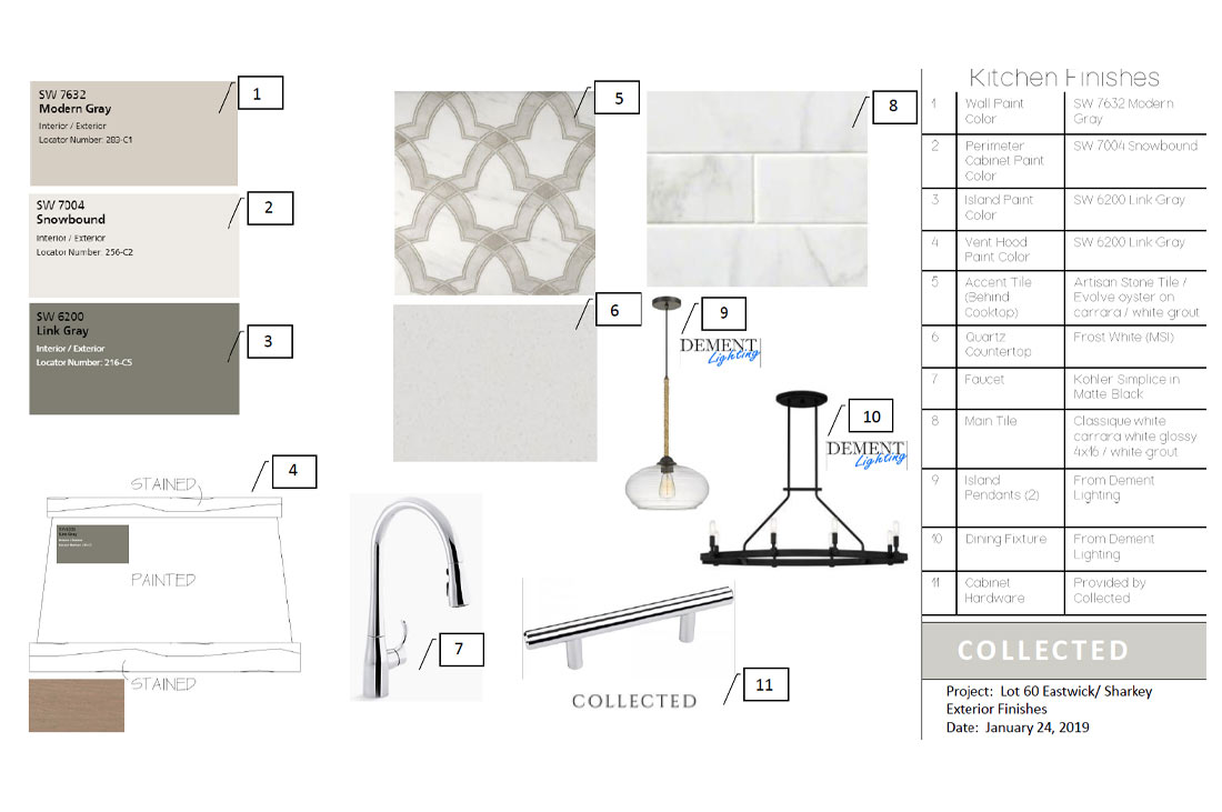 Diagram of kitchen finishes on custom home.