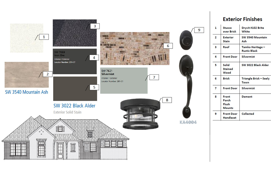 Diagram of exterior finishes on custom home.