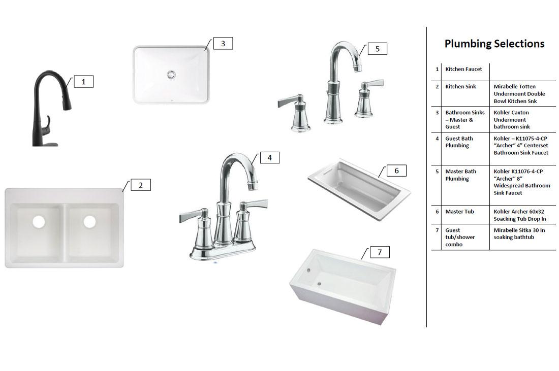 Diagram of plumbing fixtures in custom home.