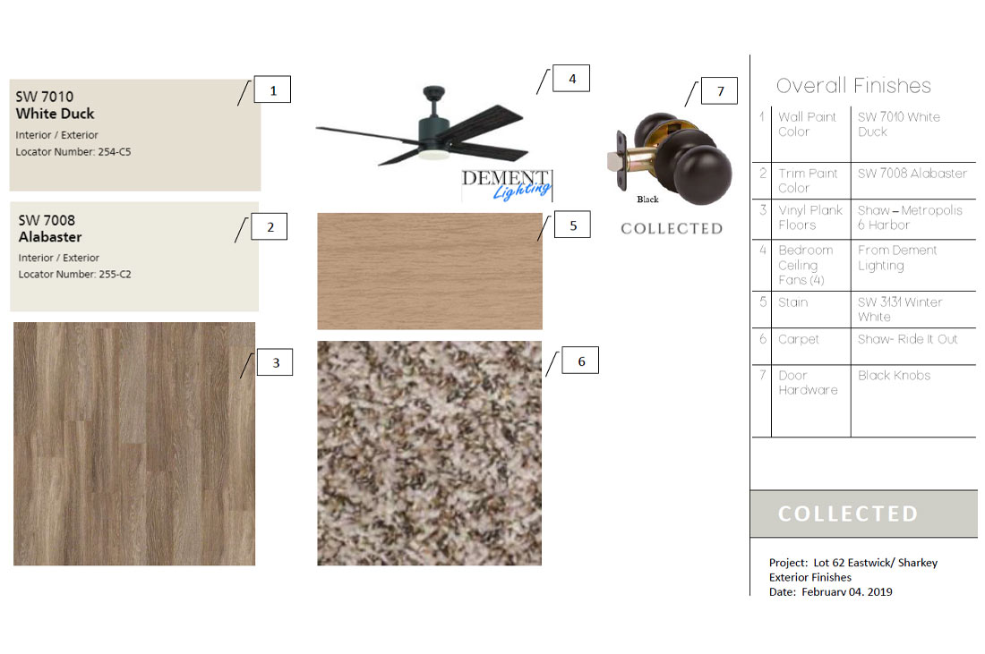 Diagram of interior finishes on custom home.