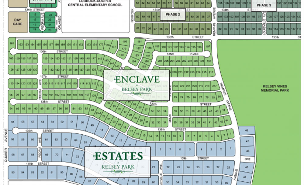 Lots map for the Enclave at Kelsey Park neighborhood development in Lubbock, Texas.