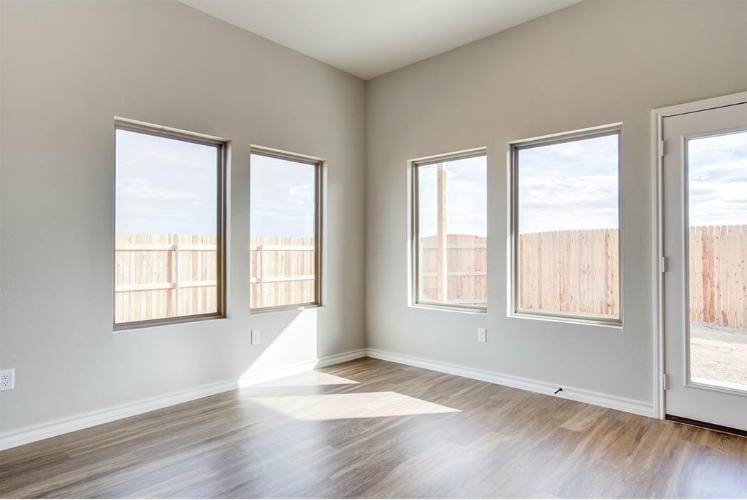 Spacious open dining area in Lubbock home for sale.