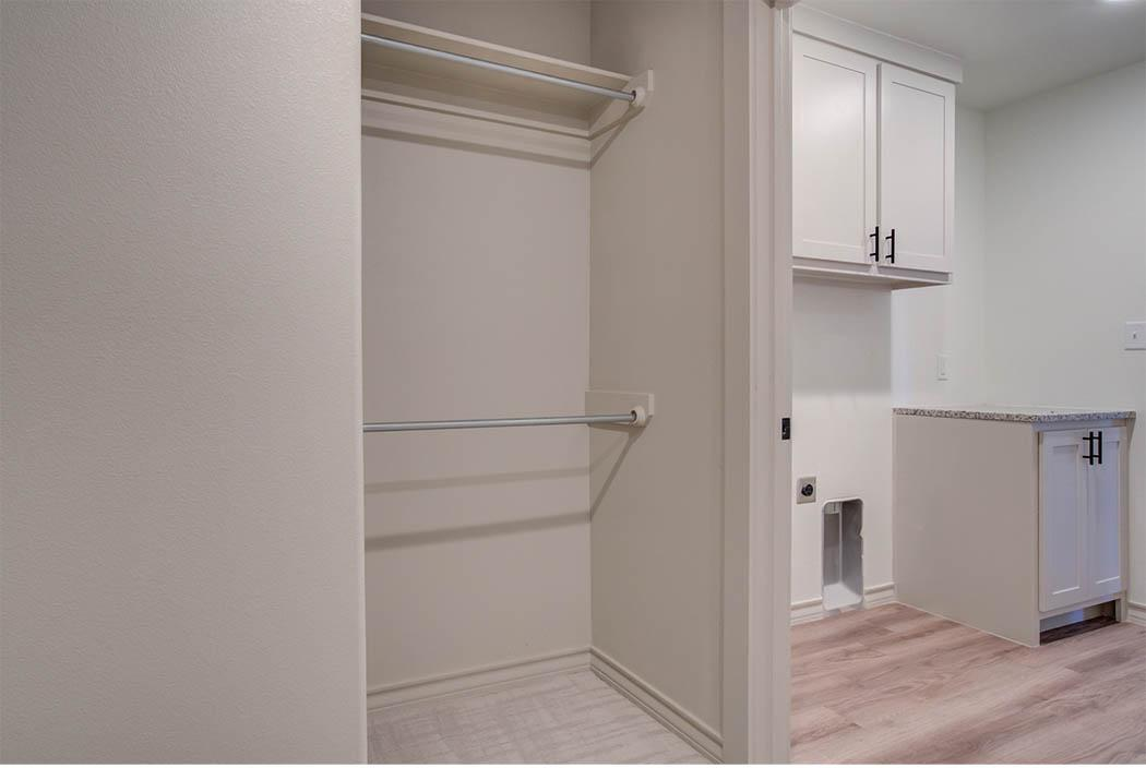 Laundry room in new Lubbock home for sale by Sharkey Custom Homes.