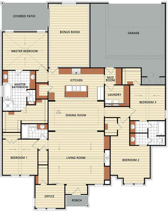 Floorplan of new home for sale in Lubbock.