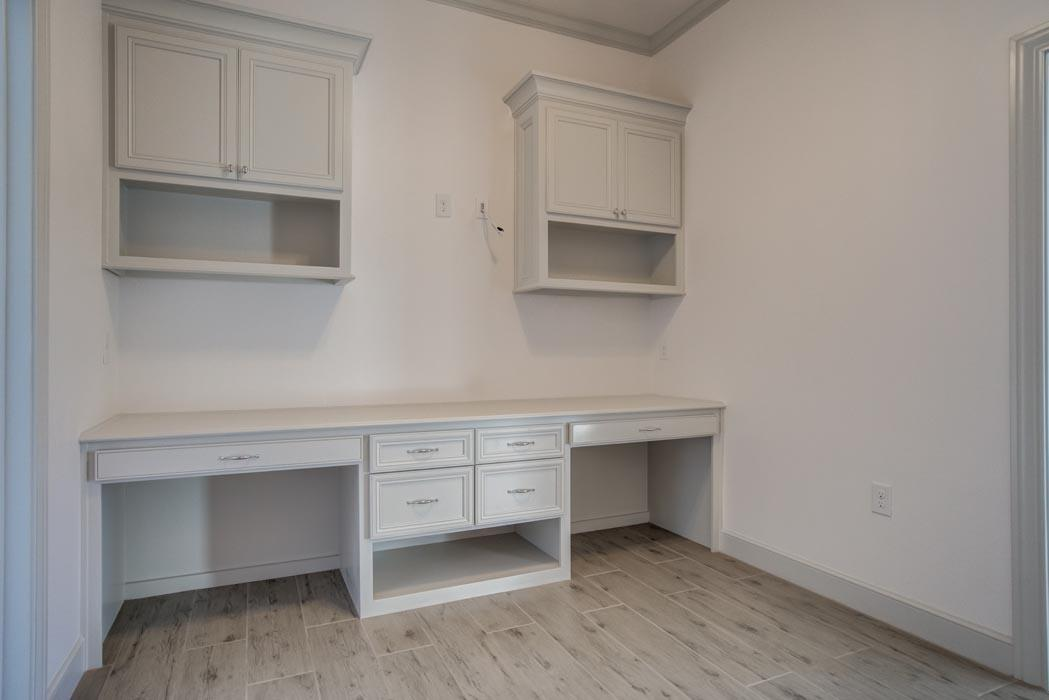 Example of spacious office in new home built by Sharkey Custom Homes in Lubbock, Texas.
