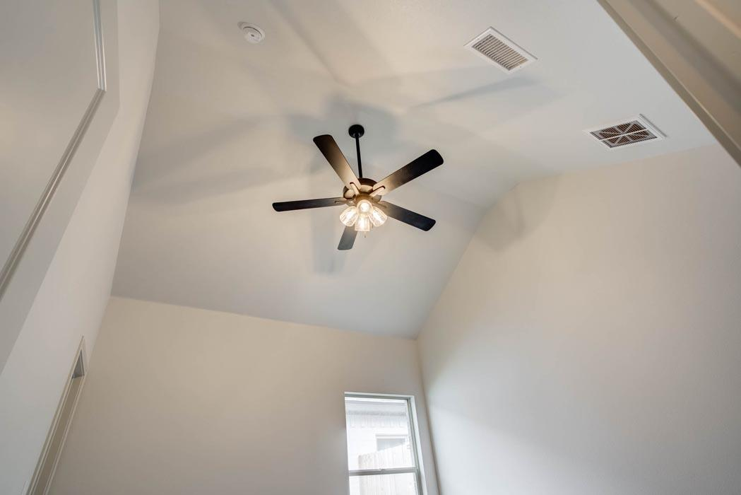 Vaulted ceiling in bedroom of new home for sale in Lubbock, Texas.