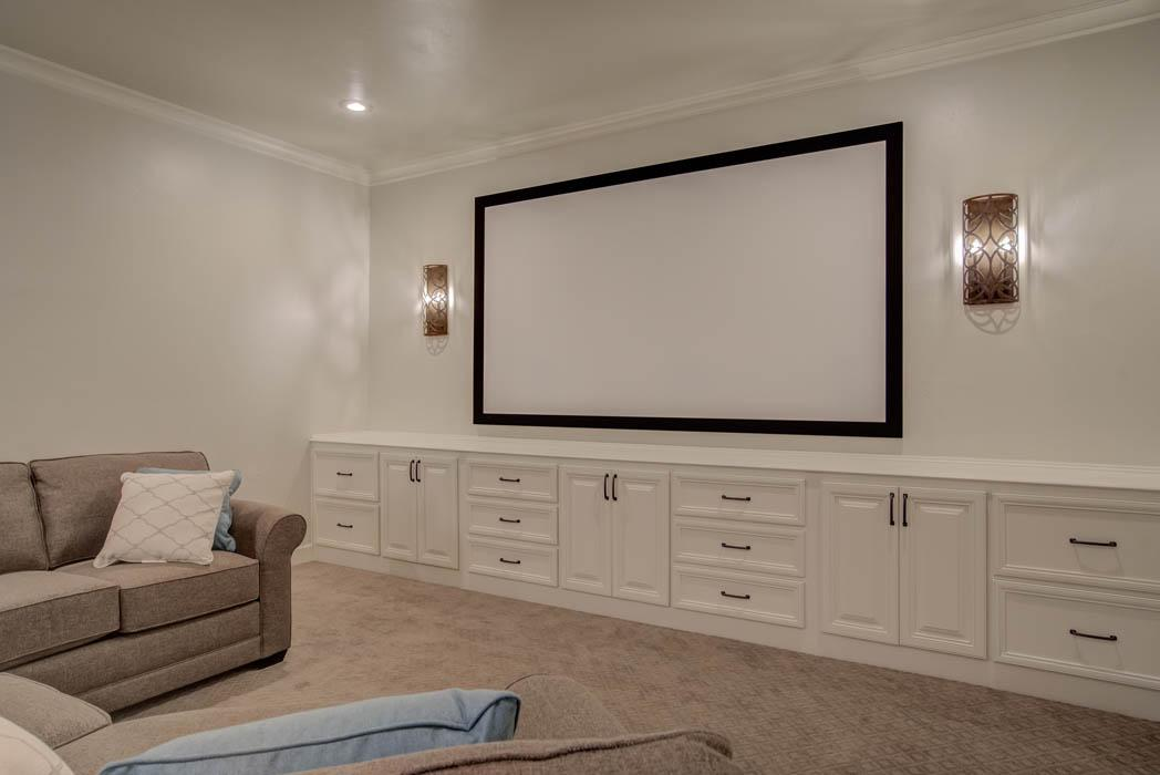 Basement home theatre room in custom Lubbock, Texas area home.