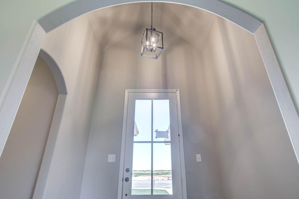 Detail of ceiling in entry foyer of new home for sale in Lubbock.
