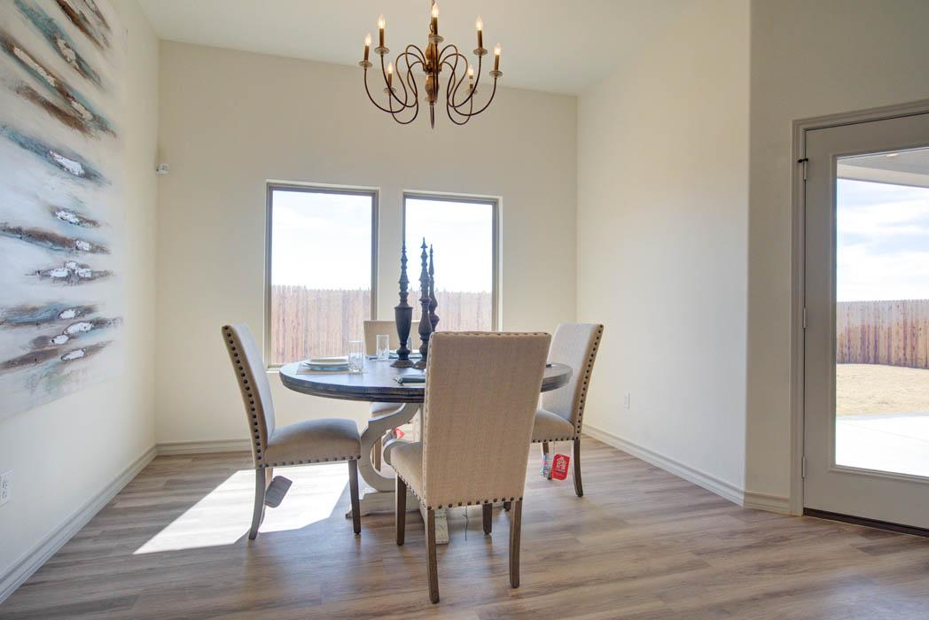 Spacious dining room in new home for sale in Lubbock, Texas.