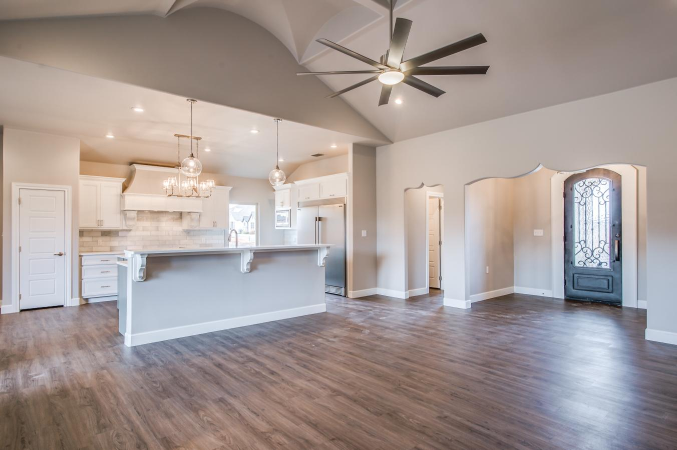 Overview of open concept plan in beautiful custom house by Sharkey Custom Homes.