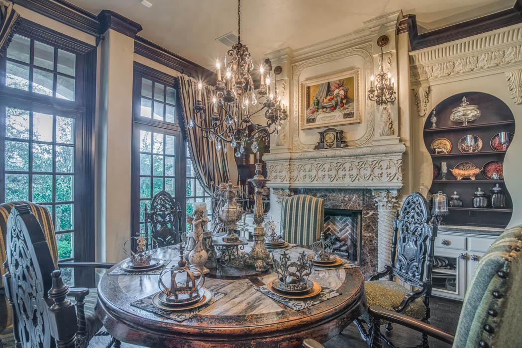 Beautiful dining room in custom Lubbock, Texas home.