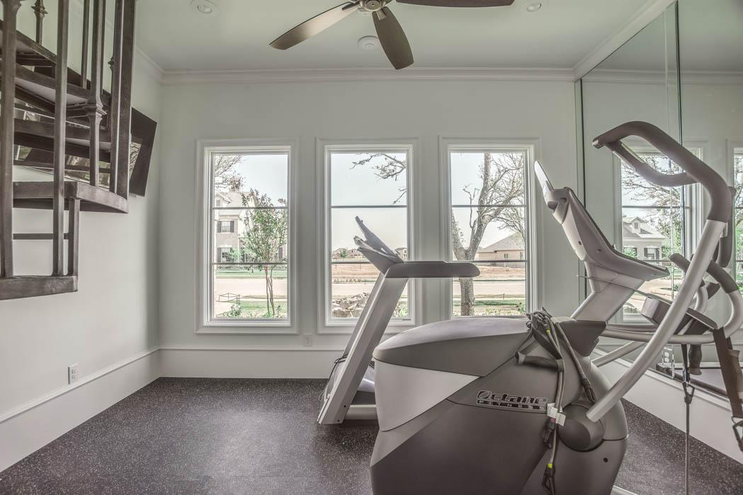 Spacious exercise room in Lubbock home.