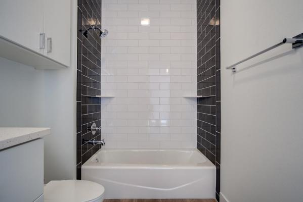 Secondary bath in beautiful custom home in Lubbock, Texas.