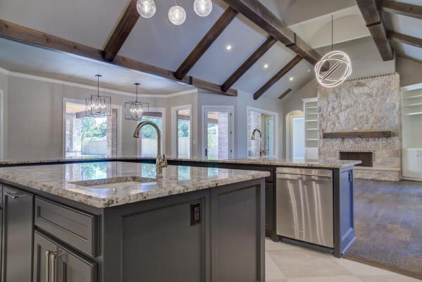 Example of beautiful kitchen in new home built by Sharkey Custom Homes in Lubbock, Texas.