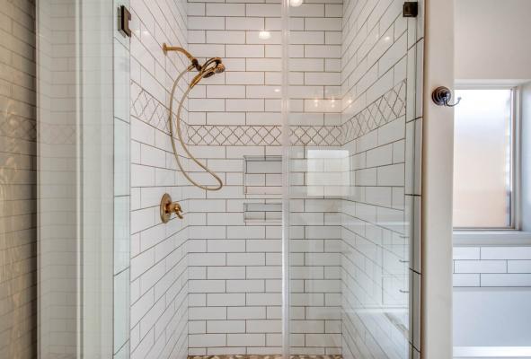 Lovely bath in West Texas home by Sharkey Custom Homes.