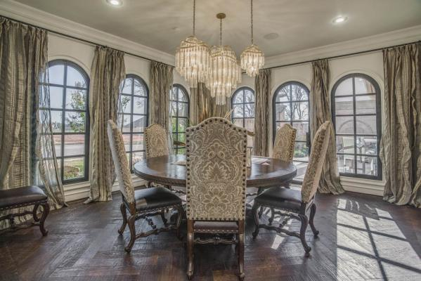 Beautiful dining room in custom Lubbock, Texas home.