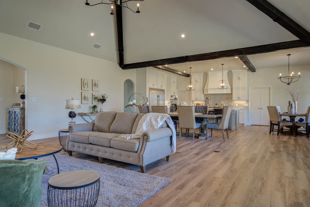 Spacious open concept living area in West Texas home.