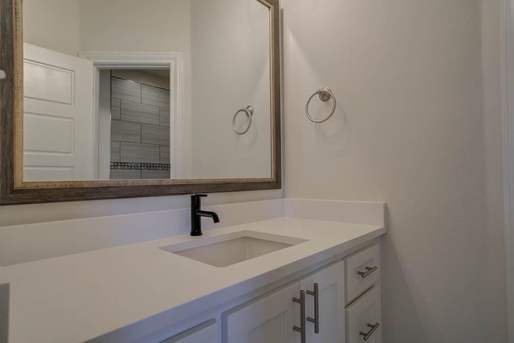 Vanity in new home bathroom in Lubbock.