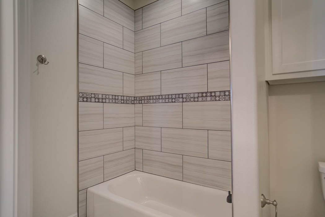 Detail of shower tile in beautiful new home in Lubbock, Texas.