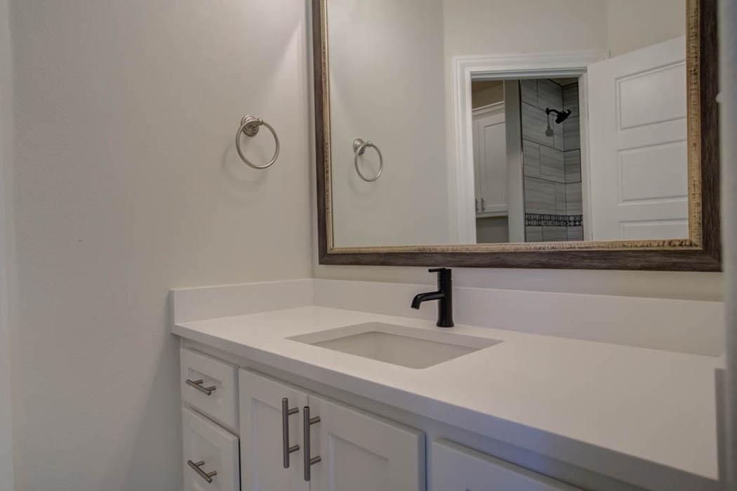 Detail of vanity in bathroom in new Lubbock home for sale.