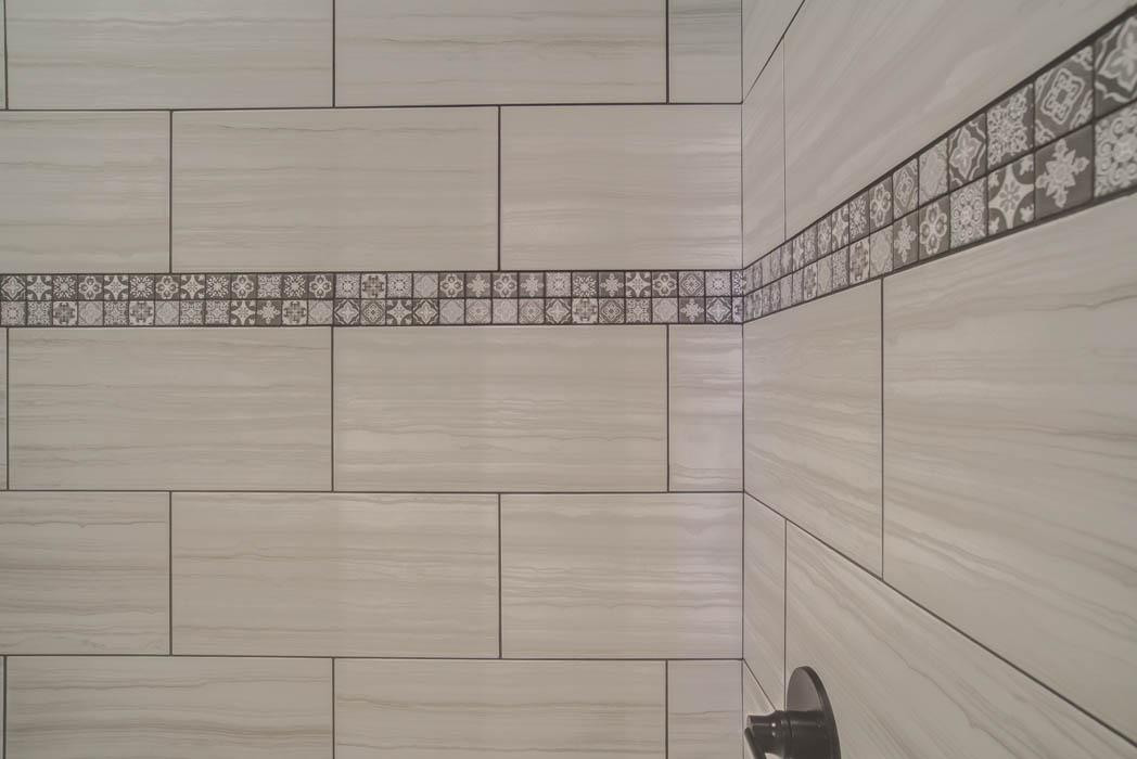 Detail closeup of tile in bathroom in new Lubbock home.