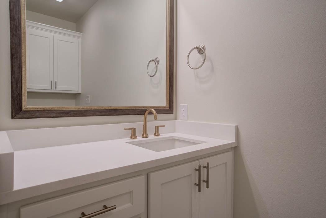 Detail of vanity in bathroom in new Lubbock home.